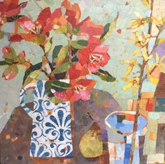 Sally Anne Fitter Camillia and Forsythia 24x24in  £745
