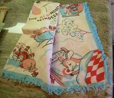 Vintage Rudolph the Red-Nosed Reindeer tea towel scarf collectible Christmas   eBay