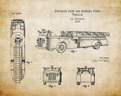 1930s Aerial Fire Truck patent art print fire por ScarletBlvd