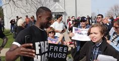 "Watch: A Man Offered Free Hugs At Trump & Sanders Rallies. | occupydemocrats | ""In this heartwarming video, members of the Free Hugs Project attend the rallies of both Donald Trump and Bernie Sanders in an effort to ""Make America LOVE Again!"" – but receive two very different reactions that underscored the fundamental differences between the two sides."" Trump is all about hate and Sanders is all about love. Click to watch and share video (6:37). Be prepared for smiles and tears."