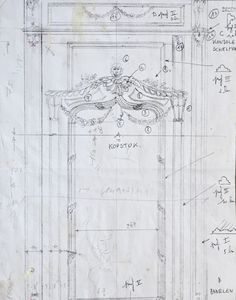 Pol Standaert plasterwork drawing for reconstruction of mantelpiece