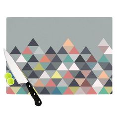 "Kess InHouse Mareike Boehmer Nordic Combination Grey Tempered Glass Abstract Cutting Board (Small 11.5 "" x 8.5""), Multi"