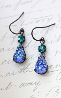 Blue Drop Earrings Vintage Glass Crystal
