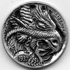 Eric Truitt - Ijs Draak Hobo Nickel, Coin Collecting, Silver Coins, Drake, Buffalo, Hand Carved, Art Pieces, Carving, Scrapbook