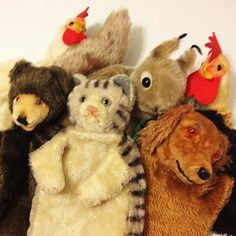 Vintage Steiff hand puppets cat dog bear squirrel chicken cock rooster