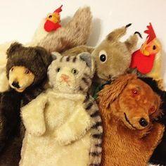 Vintage Steiff hand puppets cat dog bear squirrel chicken cock rooster