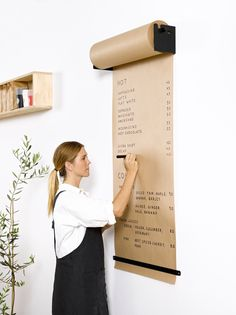 The Studio Roller is an innovative way to display information in your café, office or home. The simple and functional wall-mounted bracket seamlessly dispenses kraft paper to write ideas, menus, specials and daily tasks.George & Willy Studio Roller and F Home Office Design, House Design, Office Designs, Office Home, Bar Designs, Office Art, Design Design, Butcher Paper, Black Walls
