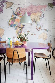 Colorful map wall and purple table! I love the purple table. Why not have a purple table? Home Interior, Interior And Exterior, Interior Decorating, Kitchen Interior, Decorating Ideas, Trailer Interior, Decorating Websites, Apartment Interior, Design Kitchen