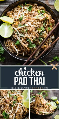 Chicken Pad Thai made in your own kitchen with fresh ingredients and a delectable sauce is the best pad thai you'll ever enjoy! This recipe turned out better than any pad thai I've ever ordered in a restaurant. This is so much better than take out! Plus, when you make this chicken pad thai recipe yourself, you have total control over the quality and freshness of the ingredients you use. Clean Dinner Recipes, Easy Chicken Dinner Recipes, Asian Recipes, Japanese Recipes, Chinese Recipes, Chinese Food, Dinner Ideas, Meal Ideas, Food Ideas