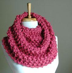 Punto infinito bufanda bufanda grueso rosa frambuesa círculo