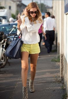 I am ALL about the colored shorts this season