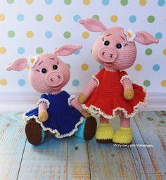 Crochet PATTERN piggy / amigurumi pig / pdf tutorial pig / pattern in English Crochet Pig, Cute Crochet, Crochet Patterns Amigurumi, Amigurumi Tutorial, Amigurumi Toys, Crochet Stitches, Knitting Patterns, Little Pigs, Crochet For Beginners