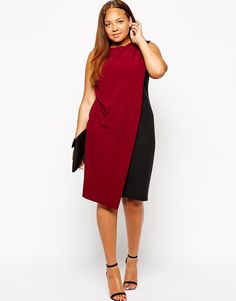 ASOS CURVE Exclusive Dress With Drape Layer