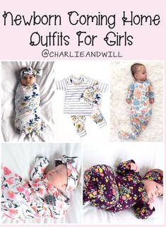 Newborn baby girl coming home outfits. Adorable sleepers and matching outfits. Pretty prints / florals / spring summer and fall colors. #babygirl #itsagirl #shopsmall Hospital bag necessity.