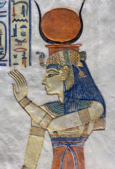 [EGYPT 29411]<br /> 'Isis in the tomb of Amenherkhepshef.'<br /> <br /> This coloured relief in the tomb of Amenherkhepshef portrays the goddess Isis, wearing a blue wig topped by a vulture headdress and the sun disc between cows horns.<br /> Amenherkhepshef was a royal scribe, commander of the cavalry and son of Ramses III. His tomb (QV 55) can be found in the Valley of the Queens on the Westbank at Luxor. Photo Mick Palarczyk and Paul Smit.