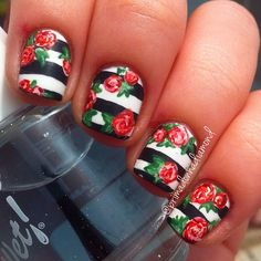 Black and White Striped Nails with Roses - Instagram photo by primadonnadiamond #nail #nails #nailart