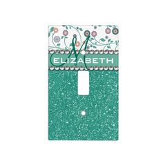 Girly Chic Mint Green Glitter Pattern With Flowers and Name Switch Plate Cover http://www.zazzle.com/aqua_turqoise_monogram_flower_glitter_pattern_light_switch_cover-256813396566477727?rf=238835258815790439&tc=OSGSwitchCoversPin