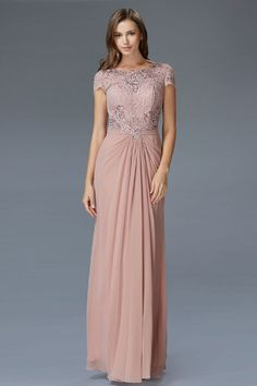 G2105 Cap Sleeve Lace Chiffon Mother of the Bride Evening Gown
