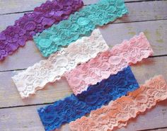 50 Lace Colors Lace Garter Garter Belt Throw Garter by SkyeBridal, $4.00 @Melissa Squires Smith this is what I meant. Plain plain. But colored.