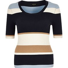 Navy stripe knitted ribbed scoop neck top $40.00
