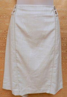 White House Black Market Skirt Womans Sz 12  Tan Lined Button Accent Pencil  #WhiteHouseBlackMarket #StraightPencil