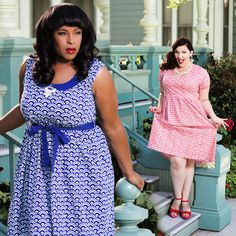 A precious plus size dress with an adorable collar and a convenient empire waist tie. A lovely dress with great print options!  Pair with strappy, tie-up wedges and a swipe of red lipstick!