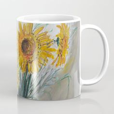 Gerberas in blue vase Coffee Mug by evaleowei Wraparound, Microwave, Dishwasher, Coffee Mugs, Cups, Construction, Vase, Ceramics, Popular