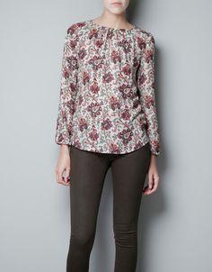 blouse met traanvormige decolleté - Zara