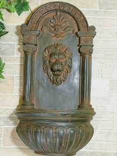 Classic Lion Solar On Demand Wall Water Fountain-Rust Tone, $179.00  #fountains, #garden, #landscape,   www.paradisewaterfountains.com