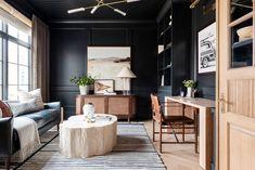 Recreate Our Favorite Office Spaces Cool Office Space, Office Spaces, Work Spaces, Curved Sofa, Sofa Shop, Studio Mcgee, Dark Walls, Bedding Shop, Home Studio