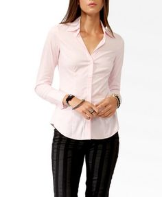 Fitted Woven Shirt | FOREVER 21 - 2017307389