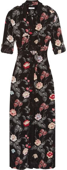 Black floral maxi. Equipment - Major Printed Washed-silk Maxi Dress - Black