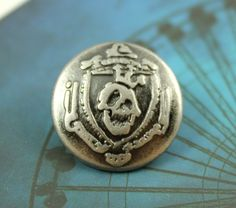 Skull King Metal Buttons , Nickel Silver Color , Shank , 0.71 inch , 10 pcs by Lyanwood, $7.00