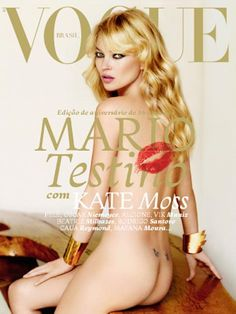 New cover of Vogue Brasil edition. Photographed by Mario Testino Quite some covers she did, believe it or not: it's the Kate Moss cover starring Coverjunkie! Rodrigo Santoro, Vogue Magazine Covers, Fashion Magazine Cover, Fashion Cover, Mario Testino, Kate Moss, Vogue Covers, Claudia Schiffer, Ella Moss