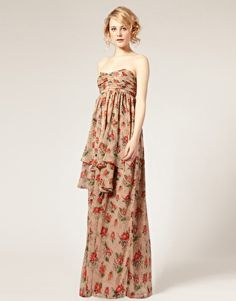 maxi dress in hydrangea print. ruched bandeau design, empire waist, elasticated back. i love the print. Patterned Bridesmaid Dresses, Wedding Dresses, Latest Fashion Clothes, Online Shopping Clothes, I Dress, Beautiful Outfits, Asos, Summer Dresses, Clothes For Women