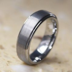SALE!! Will Queen 6mm Tungsten Carbide Rings with Matte Center &Step Edge…