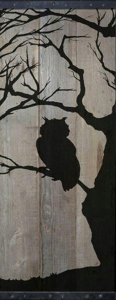 Reclaimed Barn Wood Wandkunst Eule Silhouette in von TKreclaimedART Reclaimed Barn Wood Wall Art Owl Silhouette in by TKreclaimedART # bare Barn wood wall art Arte Pallet, Pallet Art, Pallet Painting, Painting On Wood, Owl Silhouette, Art Diy, Bare Tree, Wood Burning Patterns, Reclaimed Barn Wood