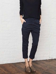 Can't lose with penny loafers, ankle-skimming flat front chinos and a loose sweater. Audrey Hepburn meets Annie Hall.