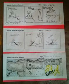 Some early examples for Swish, Swizzle, Splash, our onomatopoeia comic book!