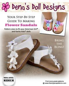 Dena Doll Designs Flower Sandals Pattern for Dolls