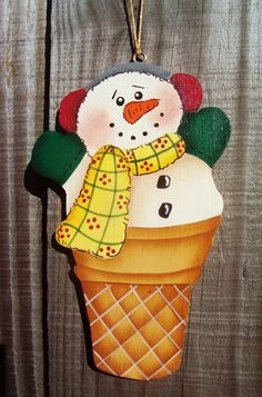 Snowman Cone Christmas Ornament