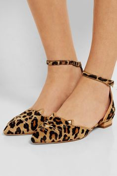 Heel measures approximately 15mm/ 0.5 inches Leopard-print calf hair, tan leather  Buckle-fastening ankle strap Come with an adhesive Polaroid picture which can be placed on the outside of your shoe box Made in Italy