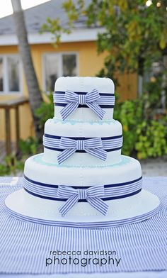 Seersucker Wedding Cake - Cayman Islands wedding on Little Cayman, Southern Cross Club