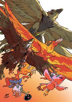 Digimon - Biyomon Evolution Line, Ivan Fiorelli Manga Anime, Anime Art, Thundercats, Digimon Wallpaper, Character Art, Character Design, Digimon Tamers, Digimon Crests, Digimon Adventure 02