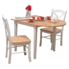 Tiffany Drop-Leaf Dining Collection Wood/Natural/White - TMS : Target