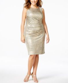 Calvin Klein Plus Size Ruched Metallic Sheath Dress | macys.com