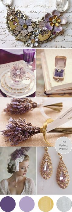 Wedding Colors | Shades of Lavender, Antique Gold + Silver http://www.theperfectpalette.com/2013/07/wedding-colors-i-love-shades-of.html