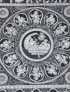 Dasavatar Ananta Sayan Pattachitra Artwork on Canvas x Black Canvas Paintings, Indian Art Paintings, Saree Painting, Mural Painting, Fabric Painting On Clothes, Madhubani Art, Indian Folk Art, Madhubani Painting, Hindu Art