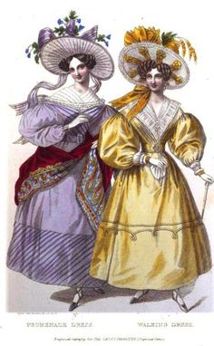 Lady's Magazine, Promenade and Walking Dress, August 1830.  I'm definitely OK with the accessories of the girl in purple. Give me a giant hat and a beautiful red shawl any day!