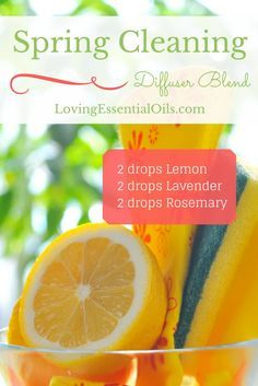 Spring Cleaning Essential Oil Diffuser Blend Lemon Lavender Rosemary Oil | DIY Aromatherapy Blends | Naturally Clean Air